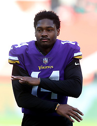 Minnesota Vikings' Stefon Diggs during warm-up before during the International Series NFL match at Twickenham, London. PRESS ASSOCIATION Photo. Picture date: Sunday October 29, 2017. See PA story GRIDIRON London. Photo credit should read: Simon Cooper/PA Wire. RESTRICTIONS: News and Editorial use only. Commercial/Non-Editorial use requires prior written permission from the NFL. Digital use subject to reasonable number restriction and no video simulation of game.