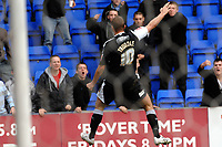 Photo: Paul Greenwood.<br />Tranmere Rovers v Swansea City. Coca Cola League 1. 10/03/2007.<br />Swansea's Lee Trundle celebrates his goal in front of the Tranmere fans, earning him the first of his yellow cards from referee Mr G Laws