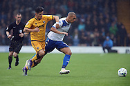 James Vaughan of Bury (r) gets away from Sebastien Amoros of Port Vale. EFL Skybet football league one match, Bury v Port Vale at Gigg Lane in Bury ,Lancs on Saturday 3rd September 2016.<br /> pic by Chris Stading, Andrew Orchard sports photography.
