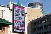 With new local coronavirus lockdown measures now in place and Birmingham currently set at 'Tier 2' or 'high', a public health advice advertising campaign featuring Bully the Bull Ring bull wearing a face mask with the slogan 'It's NO bull. Keep Brum safe' in the city centre on 14th October 2020 in Birmingham, United Kingdom. This is the first day of the new three tier system in the UK which has levels: 'medium', which includes the rule of six, 'high', which will cover most areas under current restrictions; and 'very high' for those areas with particularly high case numbers. Meanwhile there have been calls by politicians for a 'circuit breaker' complete lockdown to be announced to help the growing spread of the Covid-19 virus.