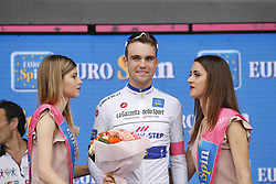 May 5, 2018 - Tel Aviv, ISRAEL - Leader of the Young Rider Classification German Maximilian Schachmann of Quick-Step Floors pictured on the podium after the second stage of the 101st edition of the Giro D'Italia cycling tour, from Haifa to Tel Aviv (167km), Israel, Saturday 05 May 2018...BELGA PHOTO YUZURU SUNADA FRANCE OUT (Credit Image: © Yuzuru Sunada/Belga via ZUMA Press)