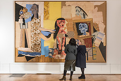"""© Licensed to London News Pictures. 21/01/2020. LONDON, UK. Visitors view """"Femmes à leur toilette"""", 1937-38, by Pablo Picasso at the preview of """"Picasso and Paper"""", an exhibition at the Royal Academy of Arts, which is the most comprehensive exhibition ever devoted to Pablo Picasso's imaginative and original uses of paper .  Over 300 works both on and with paper, are on display 25 January to 13 April 2020.  Photo credit: Stephen Chung/LNP"""