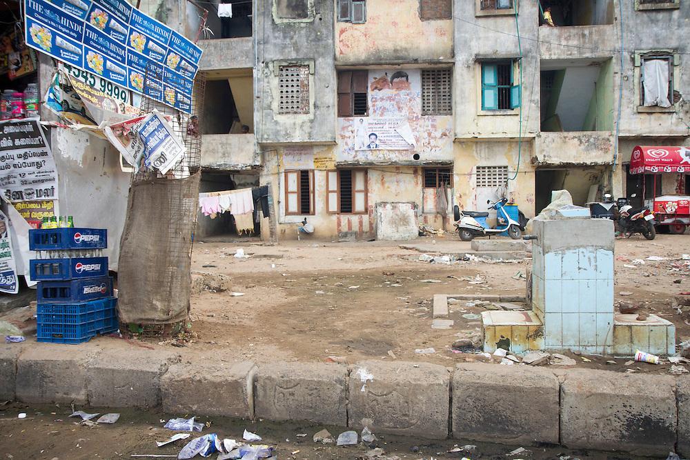 Government built housing units near Ghandi Beach in Chennai, India.