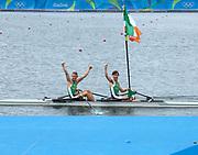 "Rio de Janeiro. BRAZIL. Lightweight men's double sculls, Silver Medalist, IRL LM2X. <br /> Gary  O'DONOVAN and Paul O'DONOVAN, Paul 2016  2016 Olympic Rowing Regatta. Lagoa Stadium, Copacabana,  ""Olympic Summer Games"" Rodrigo de Freitas Lagoon, Lagoa. Local Time 16:37:11  Friday  12/08/2016 <br /> [Mandatory Credit; Peter SPURRIER/Intersport Images]"