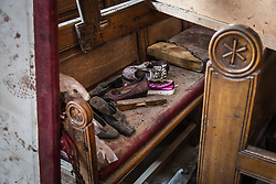 December 11, 2016 - Cairo, Egypt - A pile of shoes inside the Coptic Cathedral. Over 20 people were killed in an explosion at the Coptic Cathedral in Cairo, Egypt on December 11, 2016 (Credit Image: © Sima Diab via ZUMA Wire)