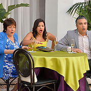 """Jane The Virgin -- """"Chapter Seventy-Six"""" -- Image Number: JAV412a_0051.jpg -- Pictured (L-R): Ivonne Coll as Alba, Gina Rodriguez as Jane and Jaime Camil as Rogelio -- Photo: Lisa Rose/The CW -- © 2018 The CW Network, LLC. All Rights Reserved."""