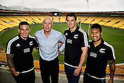 All Blacks Sevens, Sonny Bill Williams (L), head coach Gordon Sir Gordon Tietjens, Scott Curry (Captain) and Ardie Savea (R during the All Blacks Sevens squad announcement at the Westpac Stadium in Wellington on Wednesday the 19th of August 2015. Copyright photo by Marty Melville / www.Photosport.nz