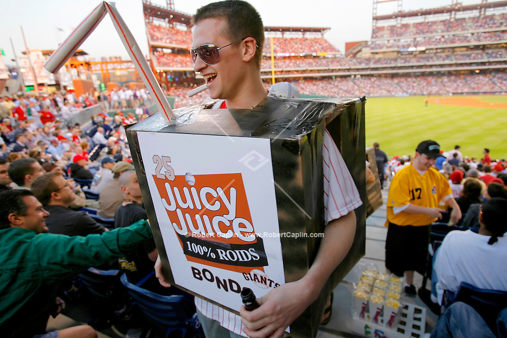 Kyle Kostesich dressed up as a Juicy Juice box in order to taunt Barry Bonds for his alleged use of steroids. The San Francisco Giants played Philadelphia Phillies at Citizens Bank Park in Philadelphia May 6, 2006. (Photo by Robert Caplin For The New York Times)