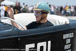 Legendary customizer Gene Winfield, now 91, racing an Ardun roadster he built in 1958 at TROG (The Race Of Gentlemen). Wildwood, NJ. USA. Saturday June 9, 2018. Photography ©2018 Michael Lichter.