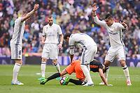Real Madrid's Toni Kroos, Sergio Ramos and Carlos Henrique Casemiro and Valencia CF's Munir El Haddadi during La Liga match between Real Madrid and Valencia CF at Santiago Bernabeu Stadium in Madrid, April 29, 2017. Spain.<br /> (ALTERPHOTOS/BorjaB.Hojas)