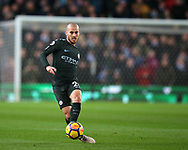 David Silva of Manchester City in action. Premier league match, Stoke City v Manchester City at the Bet365 Stadium in Stoke on Trent, Staffs on Monday12th March 2018.<br /> pic by Andrew Orchard, Andrew Orchard sports photography.
