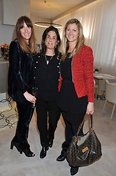 Left to right, LORRAINE LARMER of Veuve Clicquot, JILL SHAW RUDDOCK winner of the 2011 Veuve Clicquot Tribute Award and HANNAH GLYNN of Veuve Clicquot attending the Veuve Clicquot Business Woman Previous Winners Dinner held at Grace, 11c West Halkin Street, London on 16th April 2013.