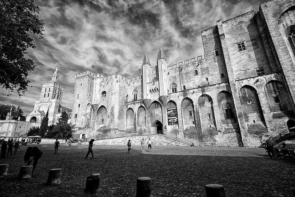 Black and white view of the historical Palace of the Popes, Avignon, France.