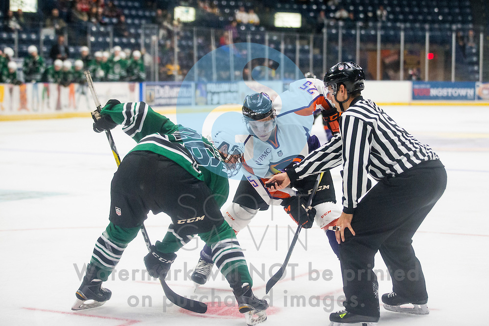 The Youngstown Phantoms vs. Cedar Rapids RoughRiders featuring Pittsburgh Penguins night and Penguins Ice Crew during the second period at the Covelli Centre on Dec. 10, 2016. The Phantoms won 2-1.<br /> <br /> Evan Wisocky, forward, 25