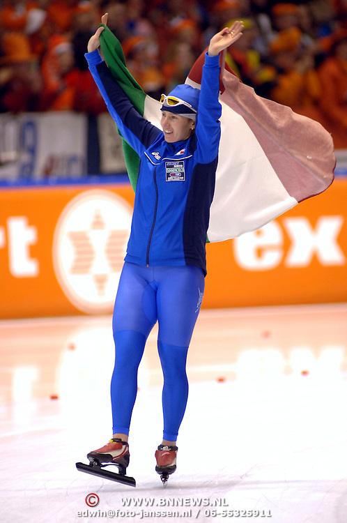 NLD/Heerenveen/20060122 - WK Sprint 2006, 2de 1000 meter dames, Chiara Simionato 2de plaats