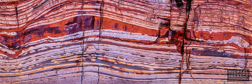 Beautiful stratified layers of rock are captured in this photograph from a gorge in the Pilbara of Western Australia.<br /> <br /> Code: HAWP0007<br /> <br /> Limited Edition Print