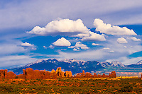 Turret Arch with La Sal Mountains in background, Arches National Park, near Moab, Utah USA