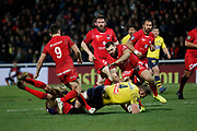 Paul Jedrasiak of Clermont and Jean Marcellin Buttin of Lyon and Baptiste Couilloud of Lyon during the French championship Top 14 Rugby Union match between Lyon OU and Clermont on February 17, 2018 at Groupama stadium in Lyon, France - Photo Romain Biard / Isports / ProSportsImages / DPPI