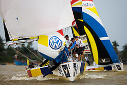 2008 Monsoon Cup. Ben Ainslie reaching towards the finish (Thursday  5th December 2008). .