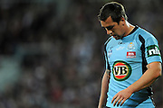 May 25th 2011: Mitchell Pearce of the Blues looks dejected during game 1 of the 2011 State of Origin series at Suncorp Stadium in Brisbane, Australia on May 25, 2011. Photo by Matt Roberts/mattrIMAGES.com.au / QRL