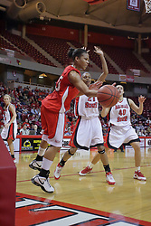 26 February 2009:  Monica Rogers looses control of the ball while driving the baseline when pressed by Kenyatta Shelton.The Braves of Bradley  and the Illinois State Redbirds battled it out on Doug Collins Court inside Redbird Arena on the campus of Illinois State University, Normal Il.