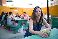 """Adelle Waldman, writer of the recently published """"The Love Affairs of Nathaniel P.,"""" the life and loves of a self absorbed - perhaps charming, depending on your point of view - Brooklyn writer, at Hot Bird in Brooklyn.<br /> <br /> (Photo by Robert Caplin)"""