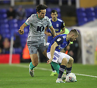 Blackburn Rovers Stewart Downing battles with  Birmingham City's Dan Crowley <br /> <br /> Photographer Mick Walker/CameraSport<br /> <br /> The EFL Sky Bet Championship - Birmingham City v Blackburn Rovers - Tuesday 22nd October 2019 - St Andrew's - Birmingham<br /> <br /> World Copyright © 2019 CameraSport. All rights reserved. 43 Linden Ave. Countesthorpe. Leicester. England. LE8 5PG - Tel: +44 (0) 116 277 4147 - admin@camerasport.com - www.camerasport.com