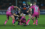 Agen no 8 Leo Ghirard(8)  blocked by the Gloucester forwards during the European Rugby Challenge Cup match between Gloucester Rugby and SU Agen at the Kingsholm Stadium, Gloucester, United Kingdom on 19 October 2017. Photo by Gary Learmonth.