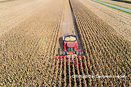 63801-12303 Harvesting corn in fall-aerial  Marion Co. IL