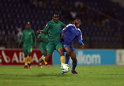 Danny Phiri of Golden Arrows tackling Lebohang Maboe of Maritzburg Utd during the 2016 Premier Soccer League match between Maritzburg Utd and Golden Arrows held at the Harry Gwala Stadium in Pietermaritzburg, South Africa on the 28th October 2016<br /> <br /> Photo by:   Steve Haag / Real Time Images