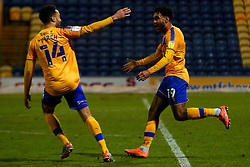 Jamie Reid of Mansfield Town celebrates his goal with James Perch - Mandatory by-line: Ryan Crockett/JMP - 17/02/2021 - FOOTBALL - One Call Stadium - Mansfield, England - Mansfield Town v Bolton Wanderers - Sky Bet League Two