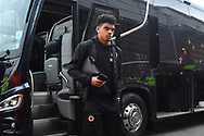 Morgan Gibbs-White (17) of Wolverhampton Wanderers gets of the bus on arrival at Ashton Gate Stadium before the The FA Cup 5th round match between Bristol City and Wolverhampton Wanderers at Ashton Gate, Bristol, England on 17 February 2019.