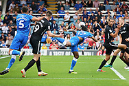 Peterborough United forward Ivan Toney (17) misses a free header during the EFL Sky Bet League 1 match between Peterborough United and Portsmouth at London Road, Peterborough, England on 15 September 2018.