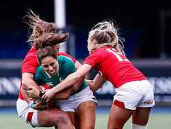 Sene Naoupu of Ireland  is tackled by Lleucu George of Wales <br /> <br /> Photographer Simon King/Replay Images<br /> <br /> Six Nations Round 5 - Wales Women v Ireland Women- Sunday 17th March 2019 - Cardiff Arms Park - Cardiff<br /> <br /> World Copyright © Replay Images . All rights reserved. info@replayimages.co.uk - http://replayimages.co.uk