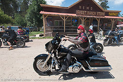 Benny Peterson of Denmark at the Nemo Guest Ranch on the Annual Cycle Source and Michael Lichter Rides (combined this year) left from the new Broken Spoke area of the Iron Horse Saloon during the Sturgis Black Hills Motorcycle Rally. SD, USA.  Wednesday, August 10, 2016.  Photography ©2016 Michael Lichter.
