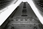 Exterior of New York Stock Exchange shot from below. New York NY.