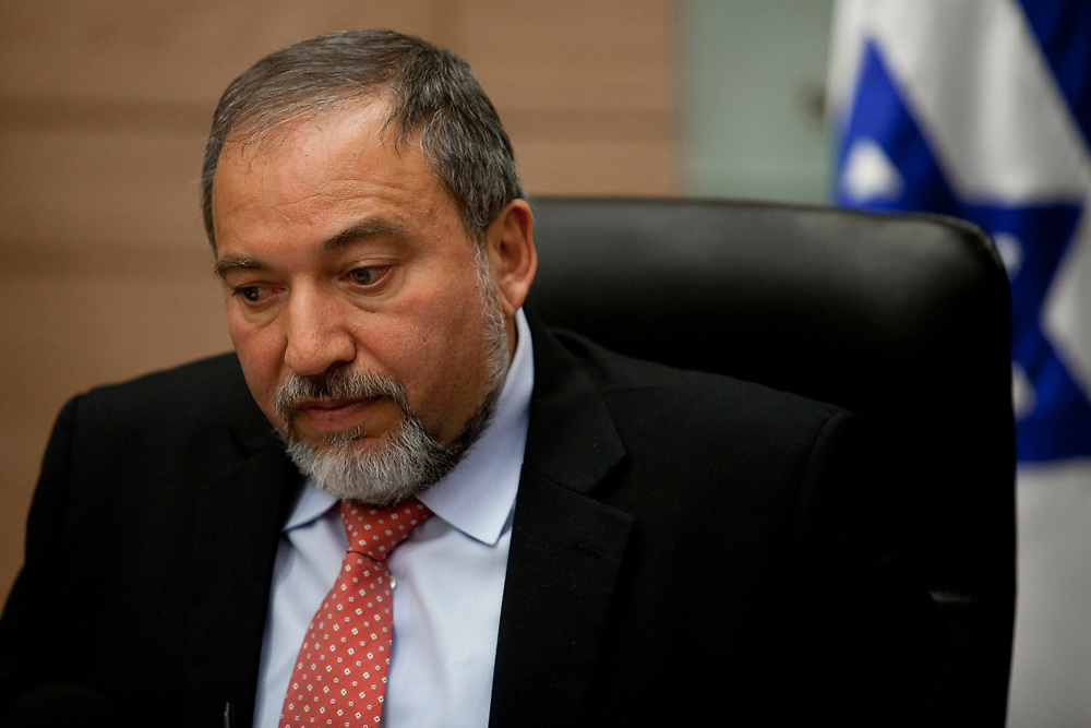 Israel's Foreign Minister Avigdor Lieberman attends an Yisrael Beiteinu faction meeting at the Knesset, Israel's parliament in Jerusalem, on February 27, 2012.