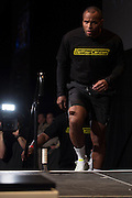 """Daniel """"DC"""" Cormier takes the stage during the official UFC 187 weigh-in event at the MGM Grand in Las Vegas, Nevada on May 22, 2015. (Cooper Neill)"""
