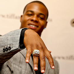 June 16, 2010; New Orleans, LA, USA;  New Orleans Saints running back Pierre Thomas holds up his Super Bowl championship ring, the team received their rings during a ring ceremony at the Roosevelt Hotel.   Mandatory Credit: Derick E. Hingle
