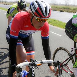 16-04-2016: Wielrennen: IJsseldelta Topcompetitie vrouwen: Zwolle<br />ZWOLLE (NED) wielrennen <br />Wind was in deze editie de grootste tegenstanders van de vrouwen. Lucinda Brand