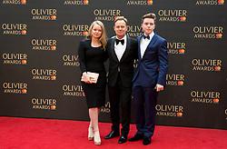 Jemma Donovan, Jason Donovan and Zac Donovan arriving for The Olivier Awards at the Royal Albert Hall in London.