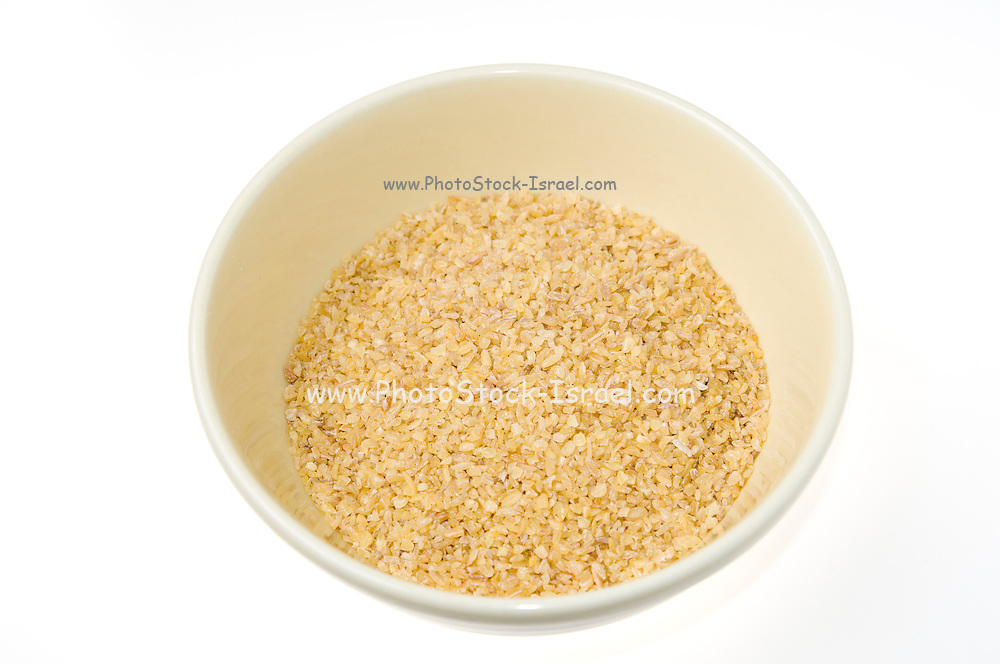 Bulgur a cereal food made from durum wheat. on white background