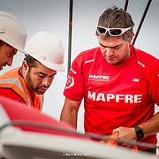 © Maria Muina I MAPFRE. Launching the MAPFRE in Lisbon after 2 weeks of refit./ Botadura del MAPFRE en Lisboa después de 2 semanas de puesta a punto.