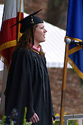 June 15, 2008 - Santa Barbara, CA: Kristin Carroll Williams, M.M. Music, Class of 2008, sings the National Anthem..UCSB Graduate Division Commencement Exercises, UCSB, Faculty Club Green at 4 PM.  (Photo by Rod Rolle)