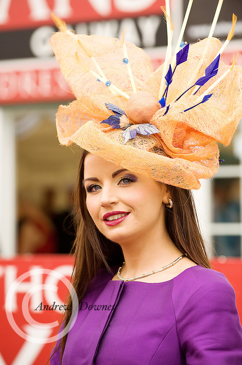 Sarah Cass Kilkenny, finalist in the Anthony Ryan Best Dressed Lady Competition at the Galway Races. Photo:Andrew Downes..