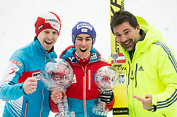 Michael Hayboeck (AUT), Stefan Kraft (AUT), winner in Overall Ski Jumping World Cup classification and his manager Mag. Patrick Murnig celebrate after the Ski Flying Hill Men's Individual Competition at Day 4 of FIS Ski Jumping World Cup Final 2017, on March 26, 2017 in Planica, Slovenia. Photo by Vid Ponikvar / Sportida