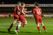 GOAL 1-1 Crawley Town forward Tom Nichols (#16) scores from the spot and celebrates with team mate sin the EFL Sky Bet League 2 match between Crawley Town and Walsall at The People's Pension Stadium, Crawley, England on 16 March 2021.