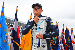August 19, 2018 - Long Pond, PA, U.S. - LONG POND, PA - AUGUST 19:   Carlin driver Max Chilton (59) of Great Britain during driver introductions prior to the IndyCar Series ABC Supply 500 on August 19, 2018, at Pocono Raceway in Long Pond, PA.  (Photo by Rich Graessle/Icon Sportswire) (Credit Image: © Rich Graessle/Icon SMI via ZUMA Press)