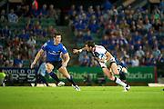 Luke Rooney looks to take on Rory Sidey. Western Force v Melbourne Rebels. Super 15 Rugby Match. Perth, Western Australia, nib Stadiym. Saturday 2nd April 2011. Photo: Daniel Carson PHOTOSPORT