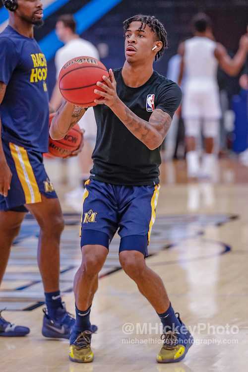 CHARLESTON, IL - JANUARY 17: Ja Morant #12 of the Murray State Racers is seen before the game against the Eastern Illinois Panthers at Lantz Arena on January 17, 2019 in Charleston, Illinois. (Photo by Michael Hickey/Getty Images) *** Local Caption *** Ja Morant